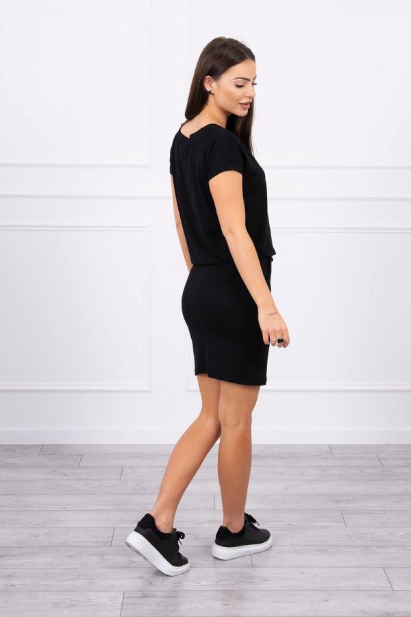 Sukienka wiązana w talii czarna 1