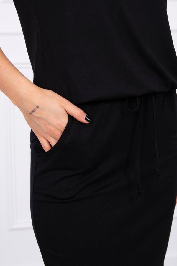 Sukienka wiązana w talii czarna 2
