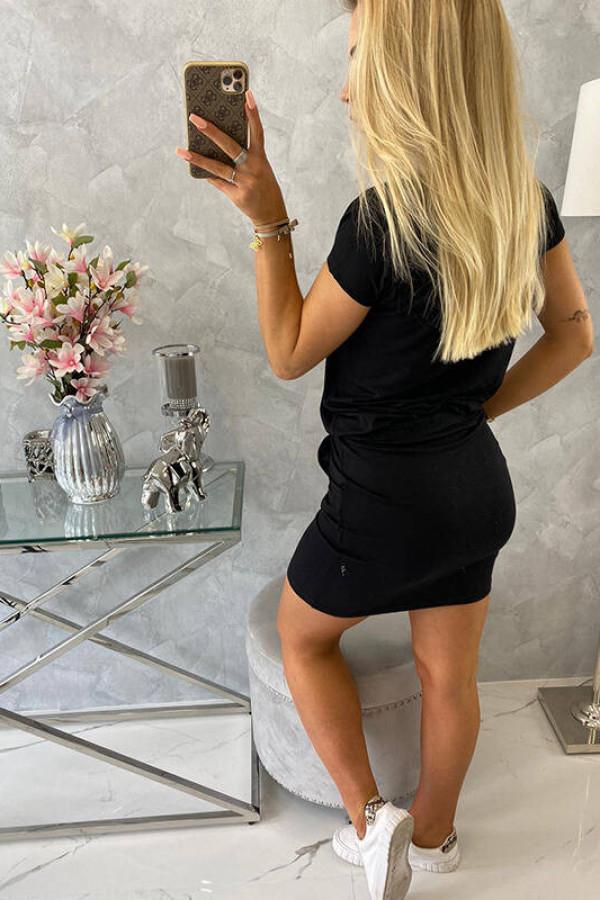 Sukienka wiązana w talii czarna 4