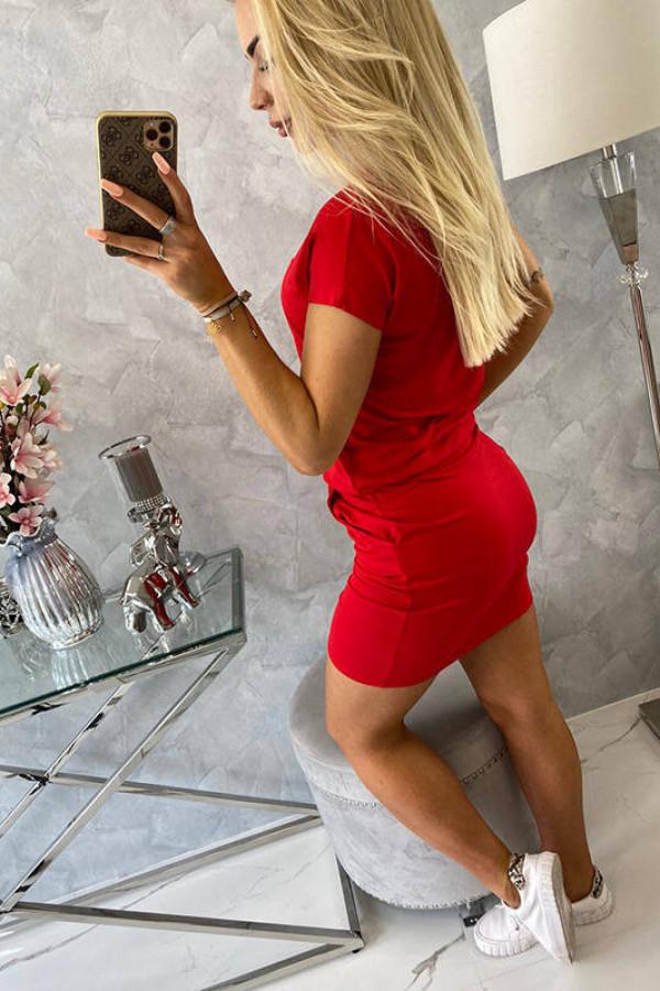 Sukienka wiązana w talii czerwona 3