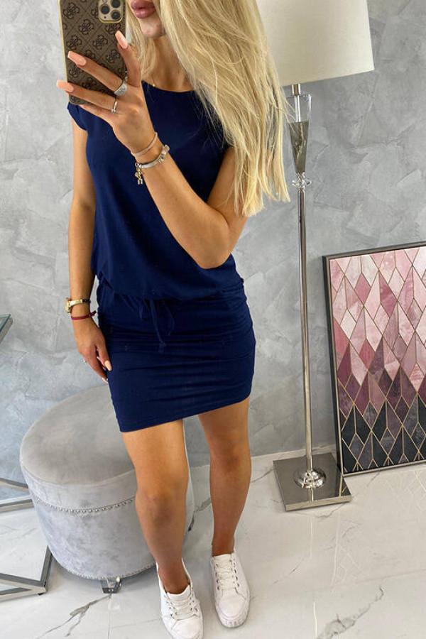 Sukienka wiązana w talii granatowa 4