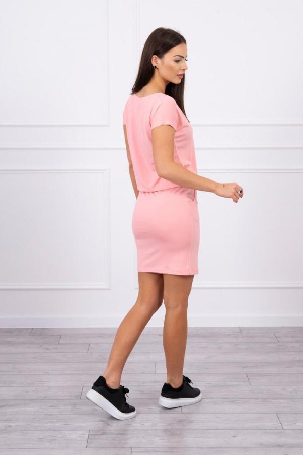 Sukienka wiązana w talii łososiowa 1