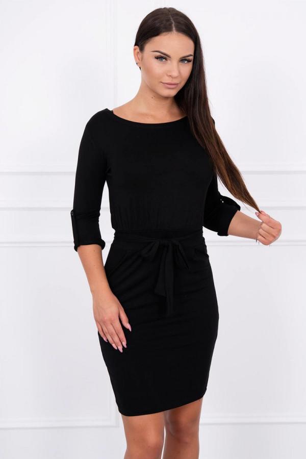 Sukienka z wywijanym rękawem czarna 1