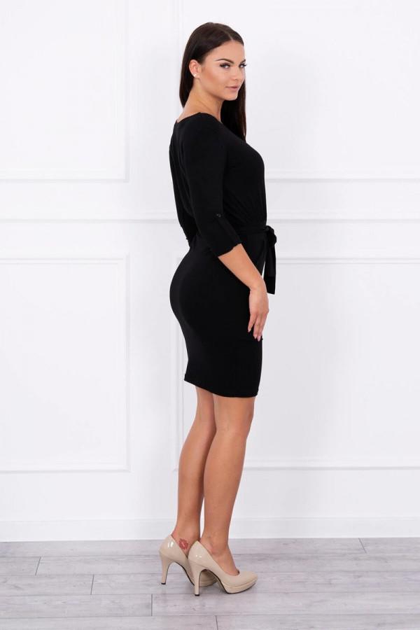 Sukienka z wywijanym rękawem czarna 2