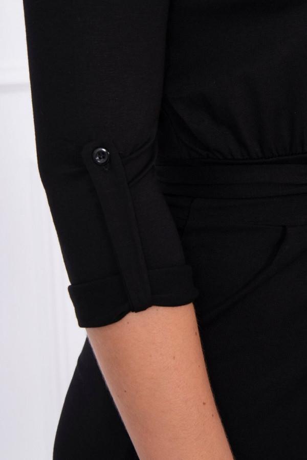 Sukienka z wywijanym rękawem czarna 3