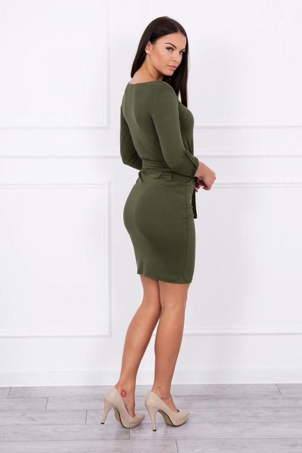 Sukienka z wywijanym rękawem khaki 1