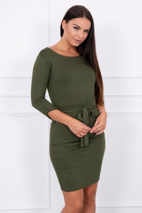 Sukienka z wywijanym rękawem khaki 2