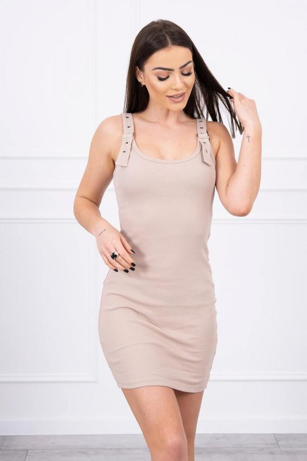 Sukienka z zapinanymi ramiączkami beżowa 1