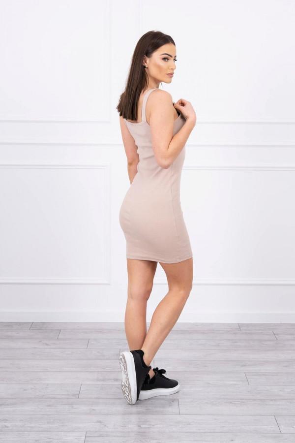 Sukienka z zapinanymi ramiączkami beżowa 2