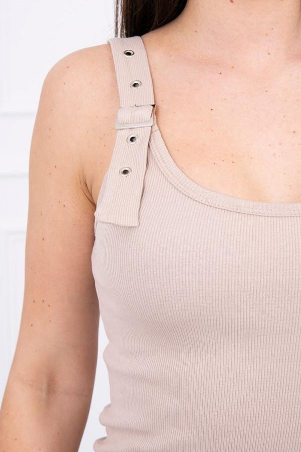 Sukienka z zapinanymi ramiączkami beżowa 3