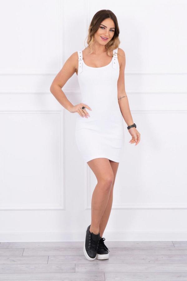 Sukienka z zapinanymi ramiączkami biała 3