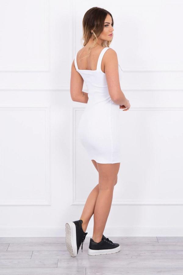 Sukienka z zapinanymi ramiączkami biała 1