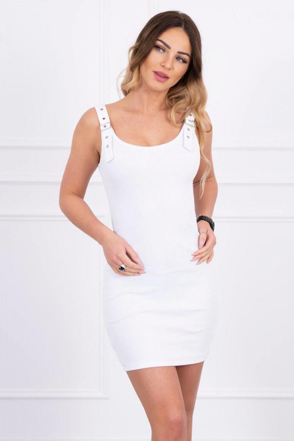 Sukienka z zapinanymi ramiączkami biała