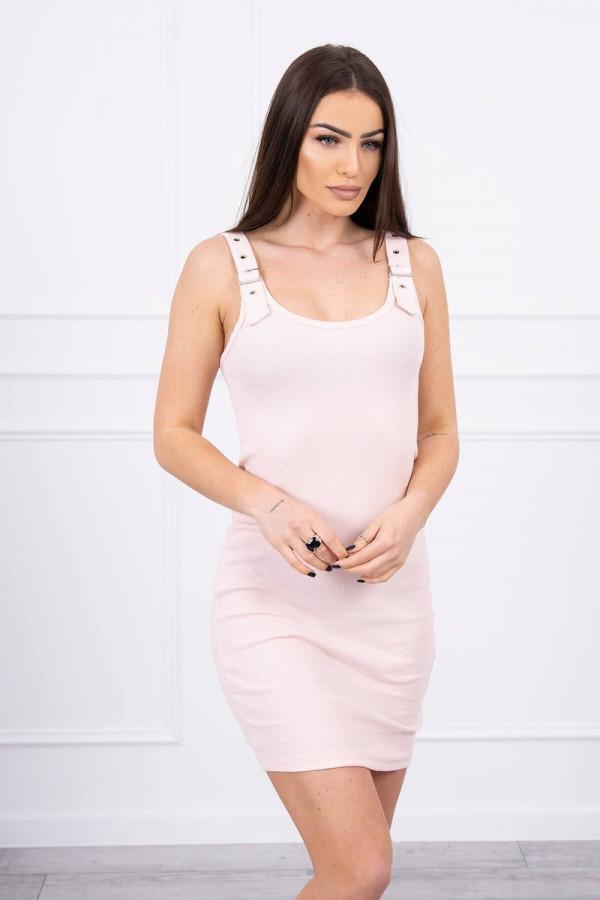 Sukienka z zapinanymi ramiączkami pudrowy róż 2