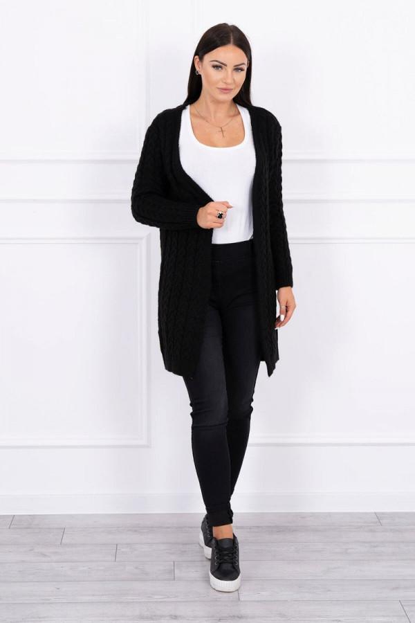 Sweter splot w warkocz czarny 1
