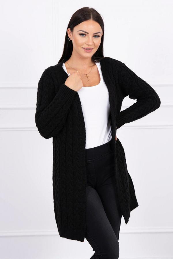 Sweter splot w warkocz czarny