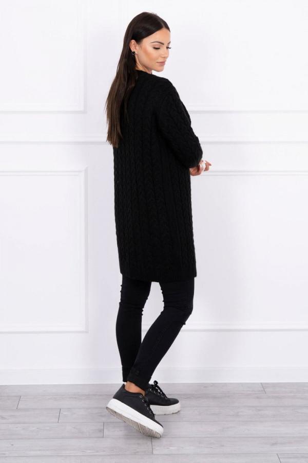Sweter splot w warkocz czarny 2