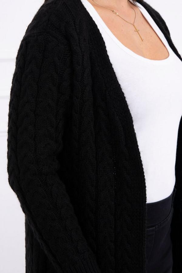 Sweter splot w warkocz czarny 3