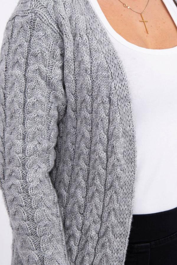 Sweter splot w warkocz szary 3