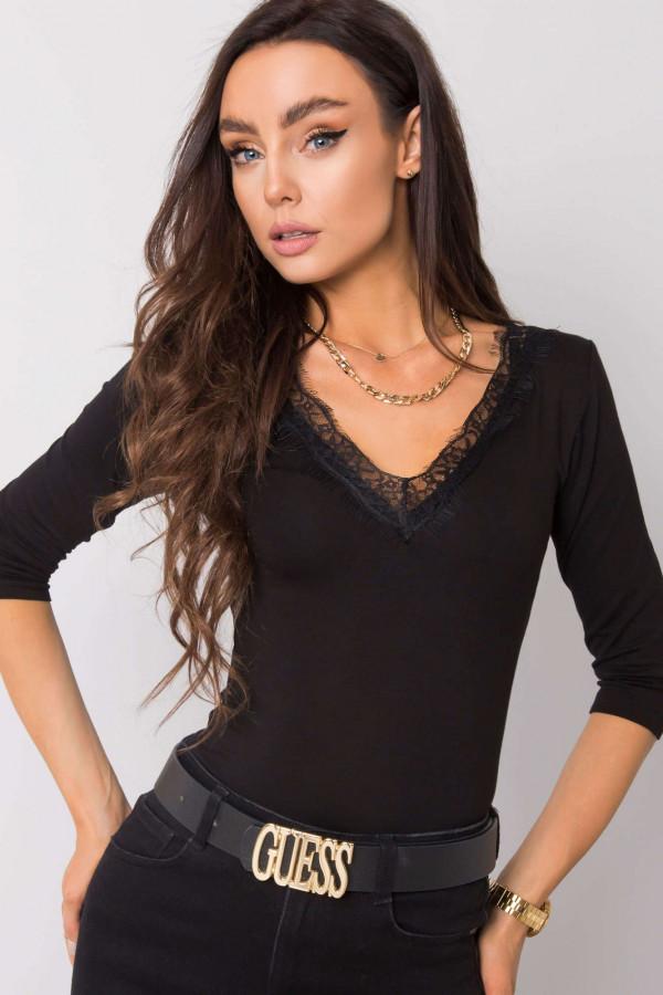 Czarna bluzka z koronką Corallie Rue Paris