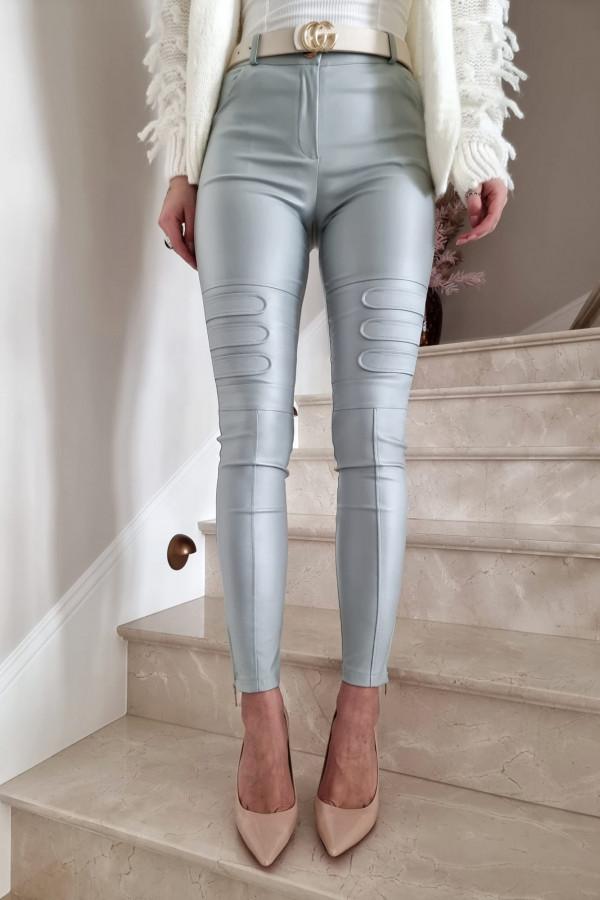 Woskowane spodnie DAISY gołębi błękit
