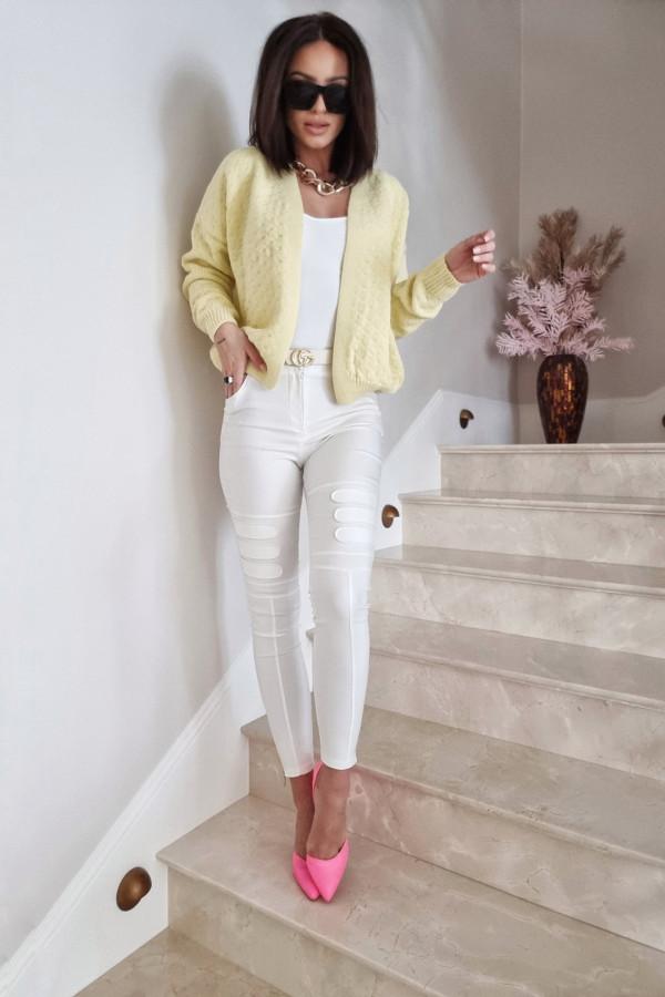 Woskowane spodnie DAISY białe