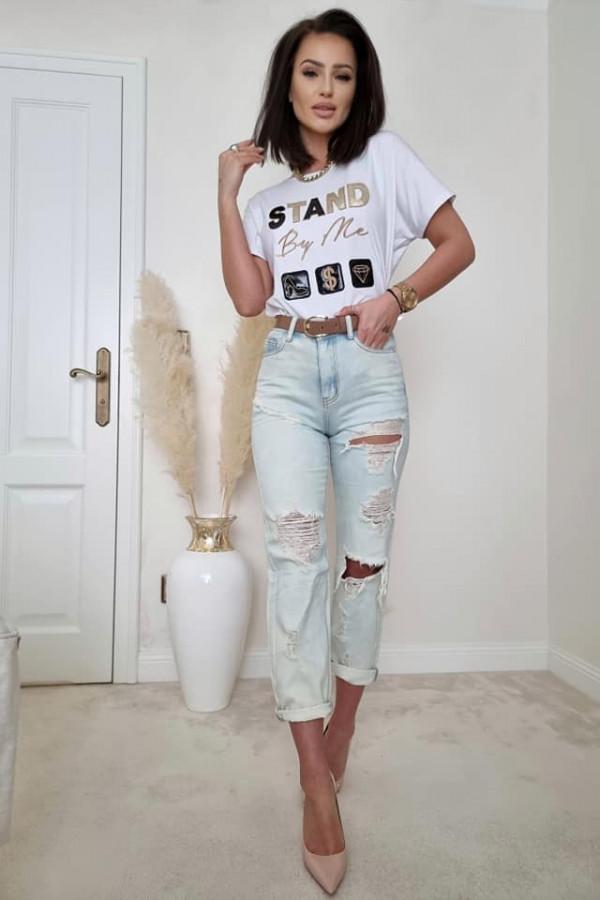 T-shirt biały z nadrukiem STAND BY ME