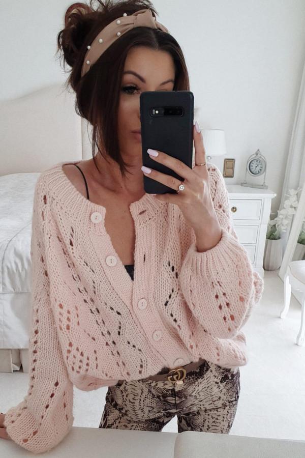 Ażurowy sweter rozpinany BY ME morelowy