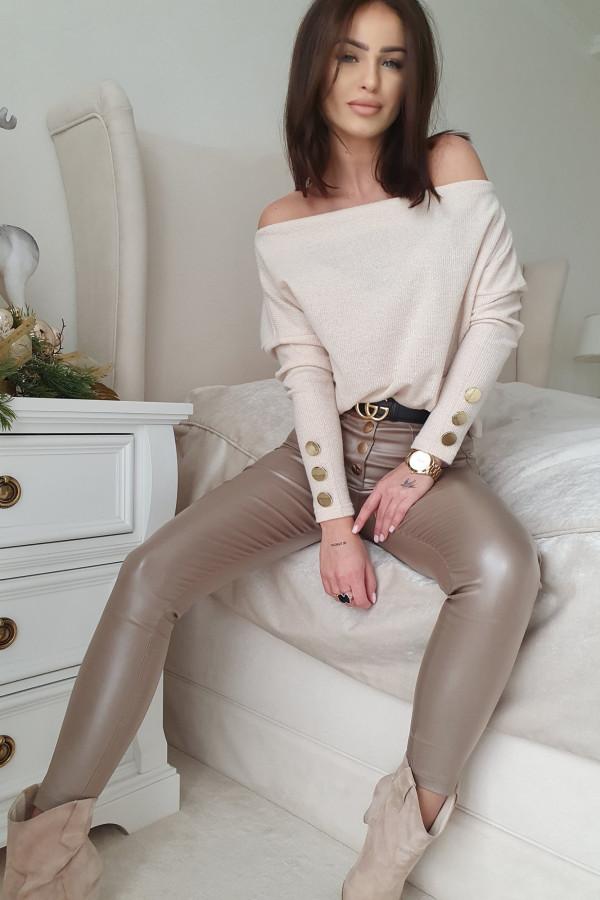 Sweter prążek By Me kremowy