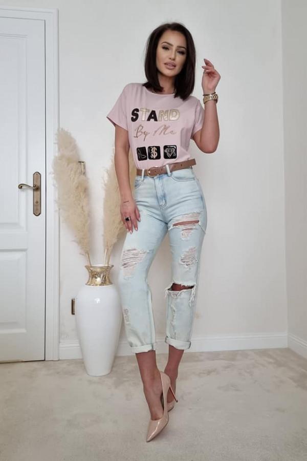 T-shirt beżowy z nadrukiem STAND BY ME