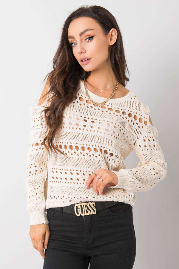 Ażurowy sweter Gabriella écru