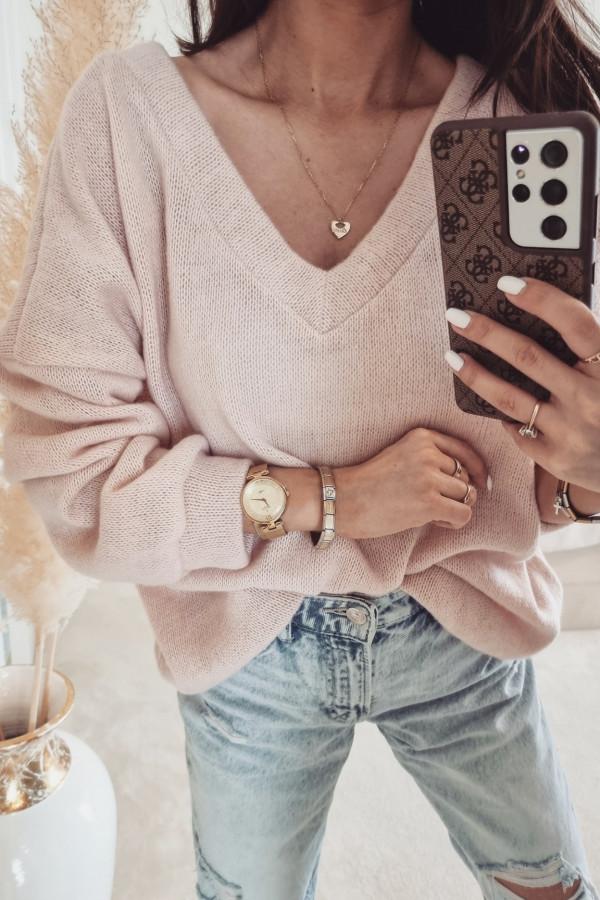 Sweterek By Me oversize Róż pudrowy