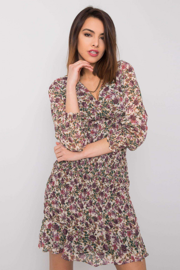 Sukienka z printem Alaina jasnobeżowa