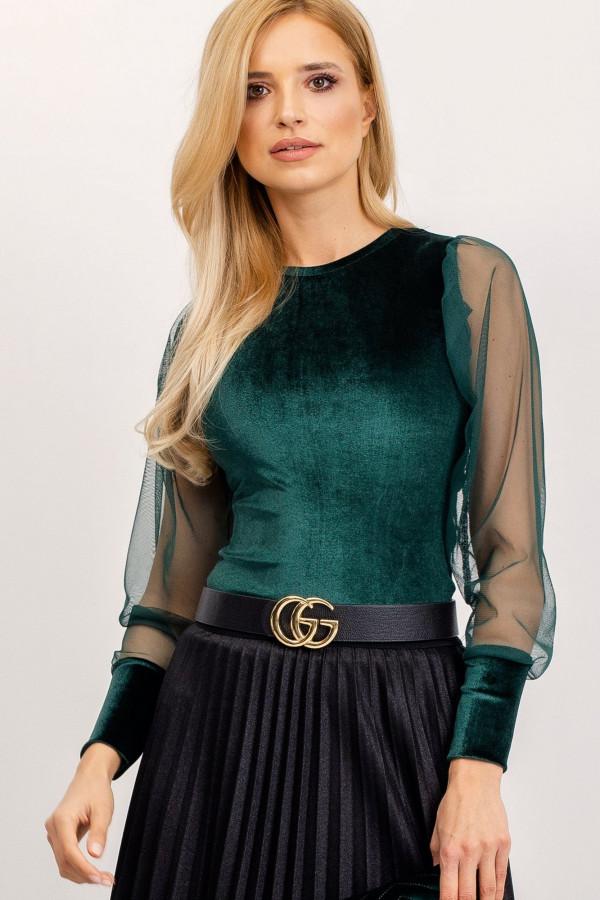 Bluzka z tiulowymi rękawami Chloe ciemnozielona