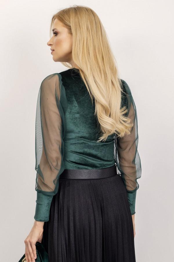 Bluzka z tiulowymi rękawami Chloe ciemnozielona 1