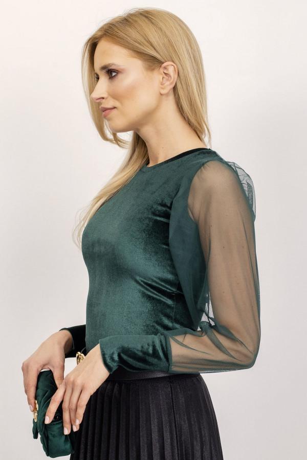 Bluzka z tiulowymi rękawami Chloe ciemnozielona 2