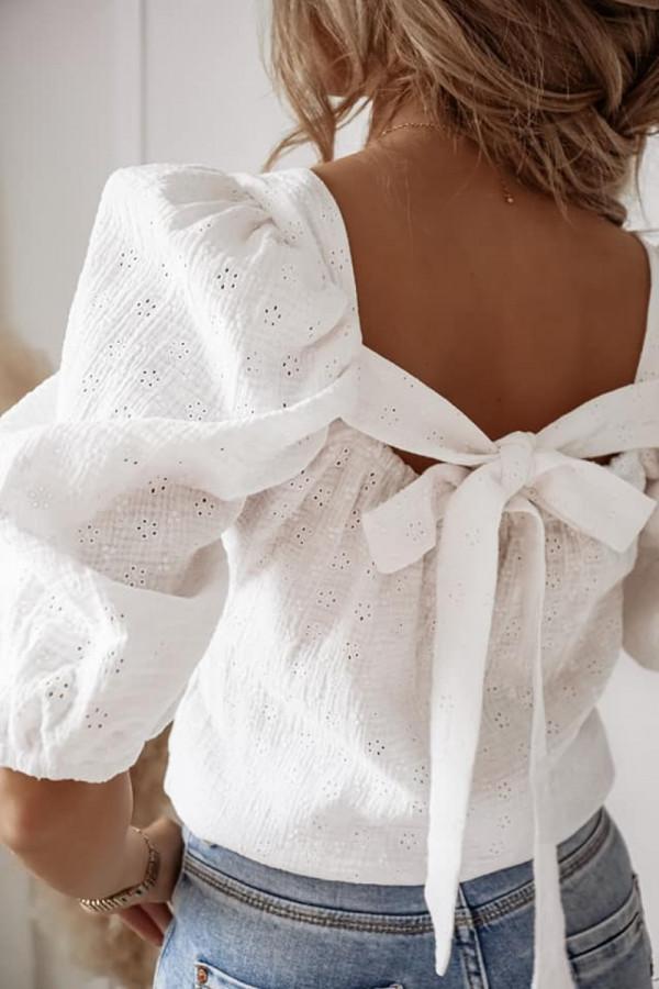 Bluzka ażurowa biała 1