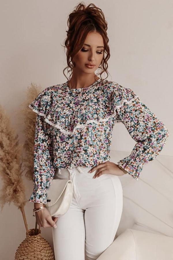 Bluzka koszulowa w kwiaty jasne