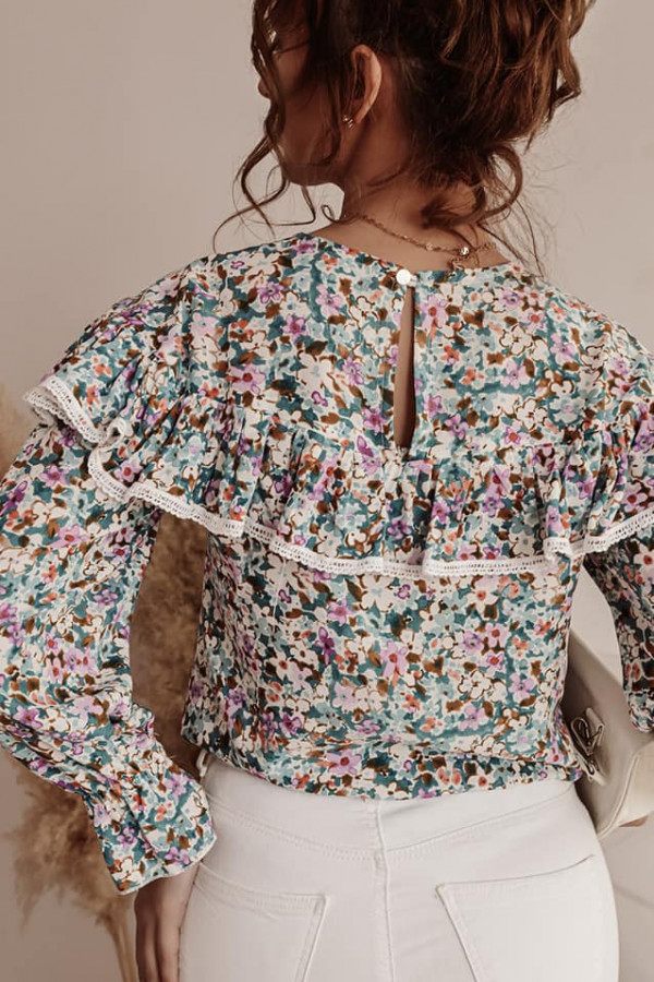 Bluzka koszulowa w kwiaty jasne 1