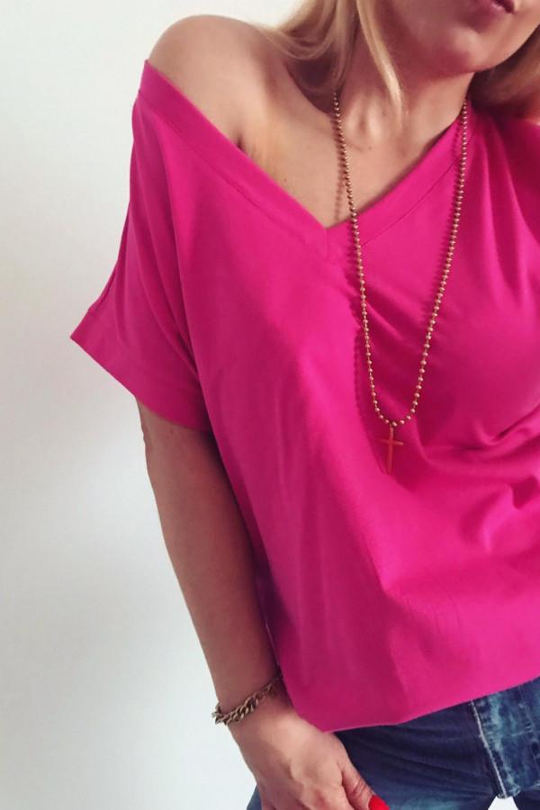T-shirt basic różowy