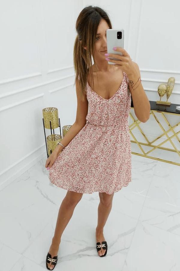 Sukienka szyfonowa różowa