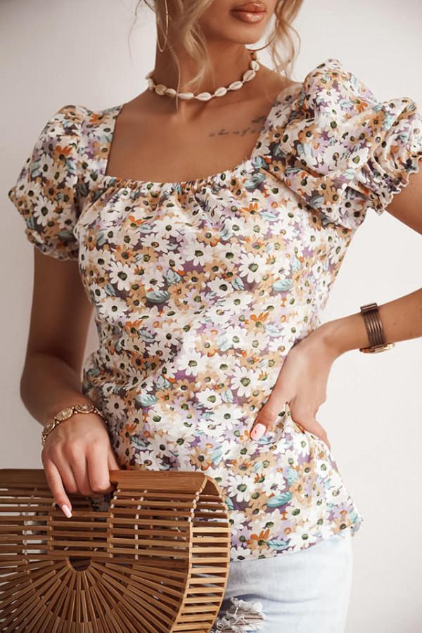 Bluzka bawełniana w kwiaty wiązana na plecach