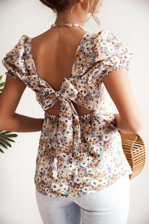 Bluzka bawełniana w kwiaty wiązana na plecach 1