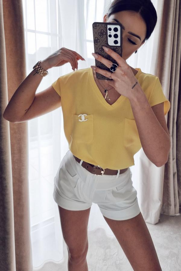 Bluzka z kieszonkami żółta