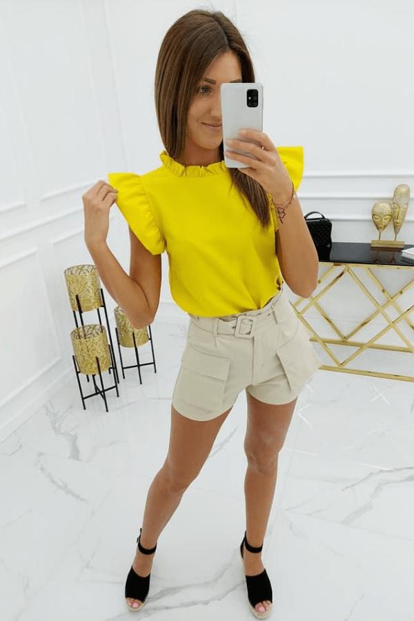 Bluzka z delikatnymi falbankami żółta