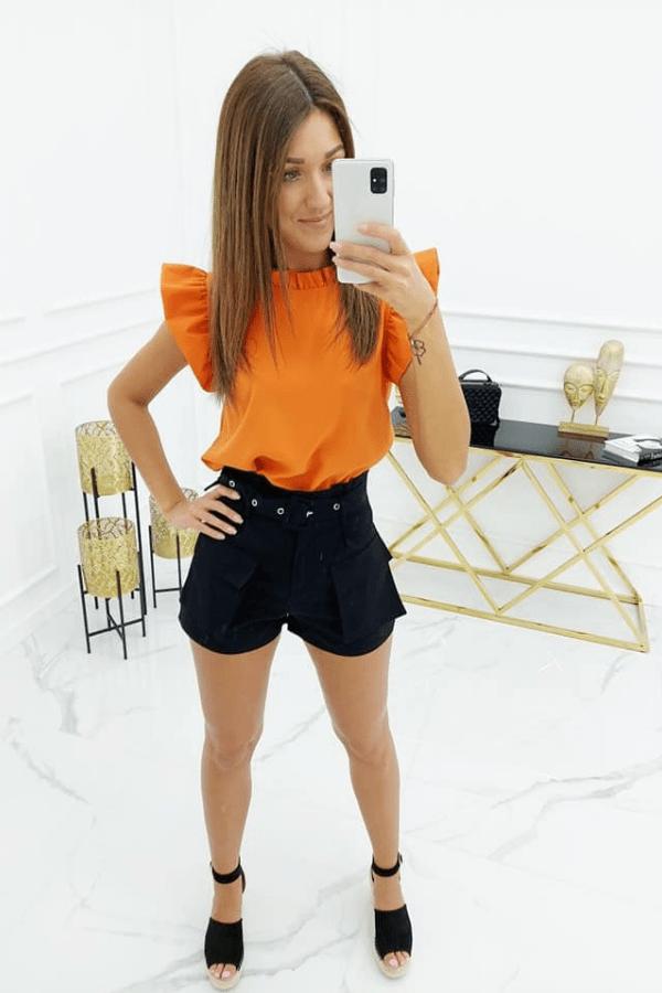 Bluzka z delikatnymi falbankami pomarańczowa