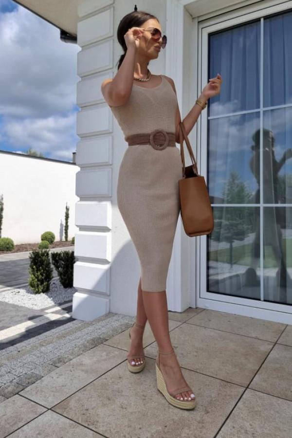 Sukienka Finezja beżowa 1