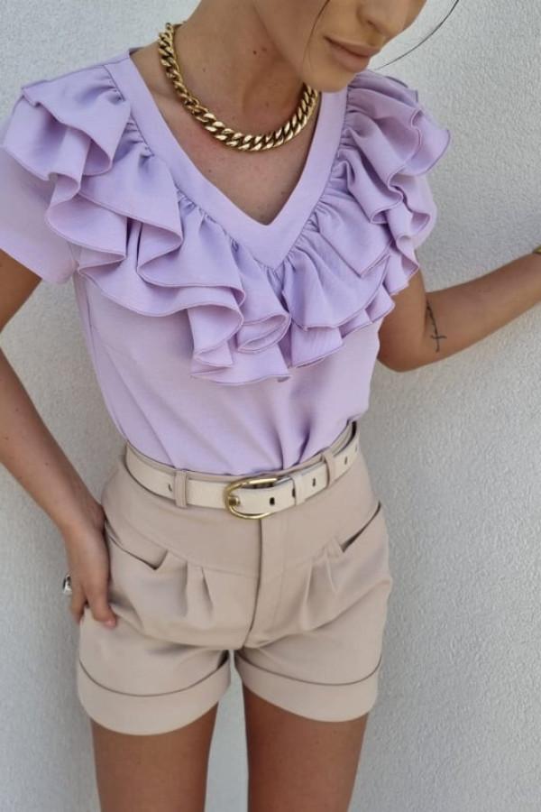 Bluzka z falbankami lila 2