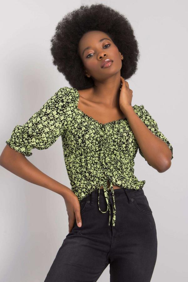 Czarno-zielona bluzka Giavanna