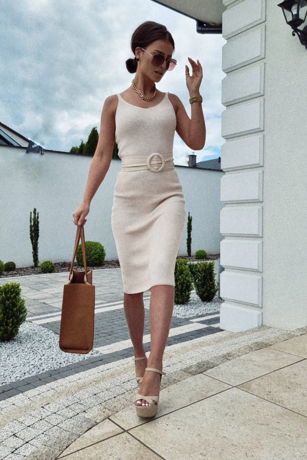 Sukienka Finezja jasny beż